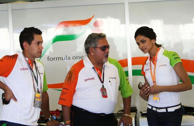 Deepika Padukone with Vijay Mallya at Force India