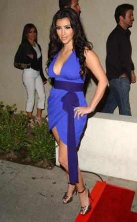 Kim Kardashian In Blue Dress Sexy Still