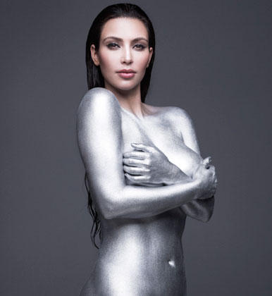 Kim Kardashian Nude Picture in Silver Paint