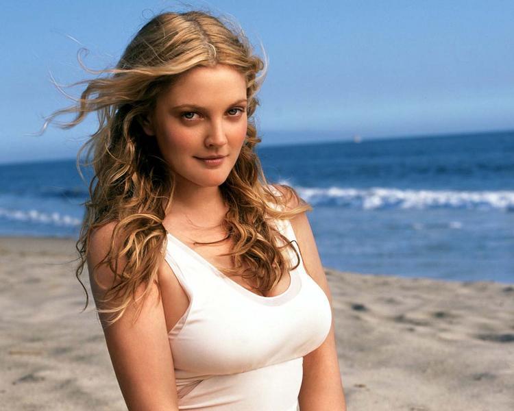 Drew Barrymore Glowing Face Still On The Beach