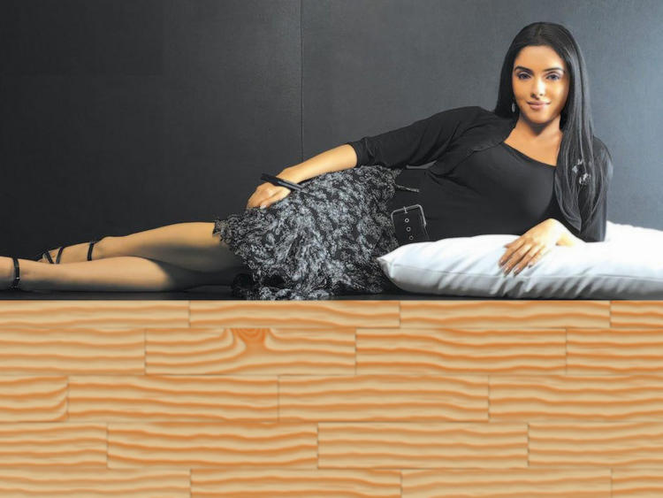 Actress Asin Lying in Bed Sexy Wallpaper