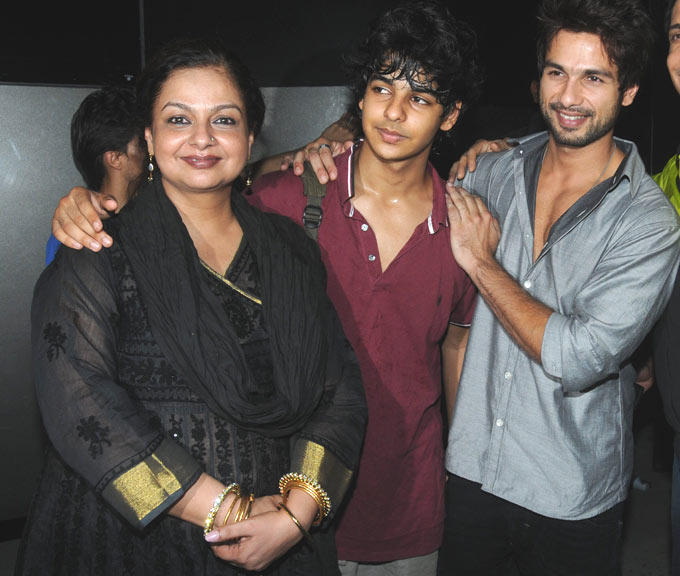 Neelima Azeem With Sons Shahid And Ishaan Kapoor Photo