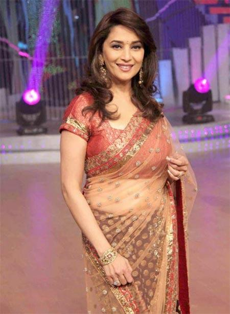 Madhuri Dixit Hot Transparent Saree Gorgeous Pic