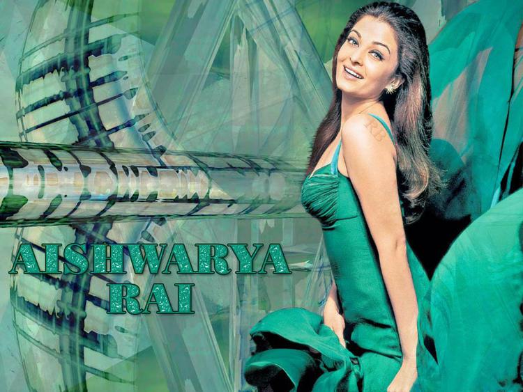 Aishwarya Rai In Green Dress Hottest Wallpaper