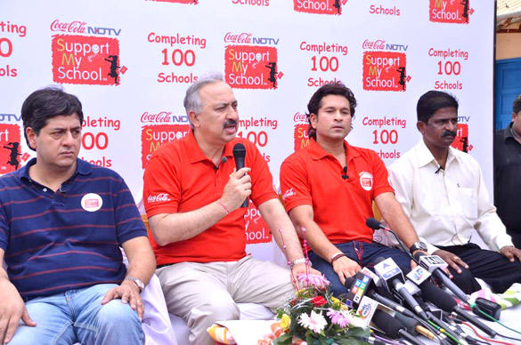 Sachin At NDTV Coca Cola Support My School 100th School Launch