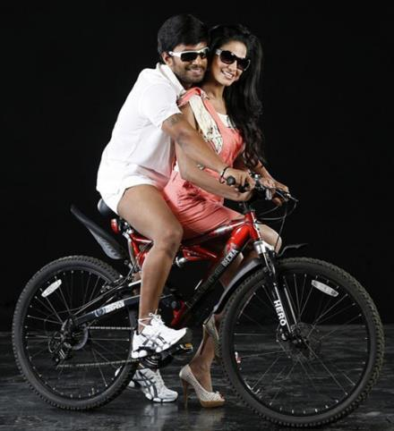 Veena With Akshay Wear Goggles Stylist Pic In Bicycle