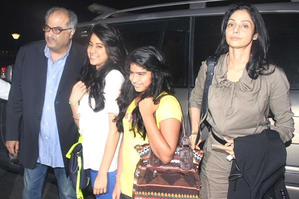 Boney,Sridevi With Their Daughters At Airport