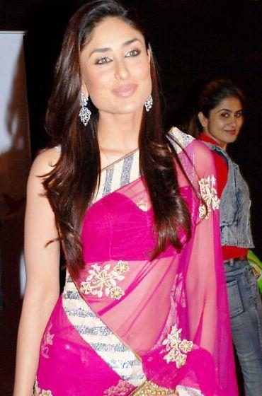 Actress Kareena Kapoor Gorgeous Pic In Magenta Color Saree