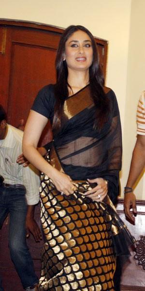 Kareena Kapoor Black Transparent Saree Hot Pic