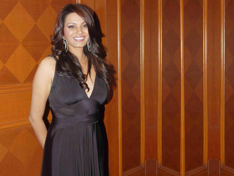 Diana Hayden Sexy Look Smiling Face Wallpaper