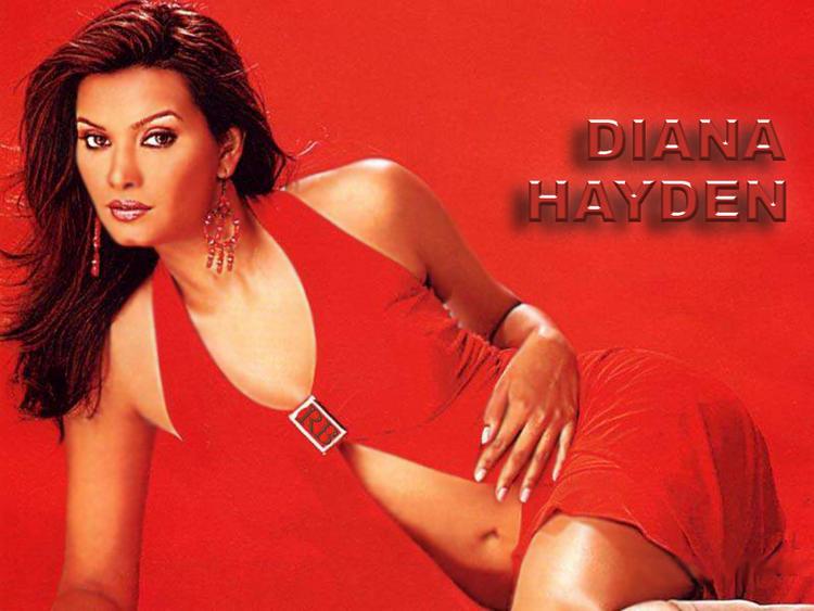 Diana Hayden Spicy Navel Exposing Wallpaper in Red Dress