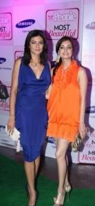 Diya Mirza With Sushmita On Green Carpet