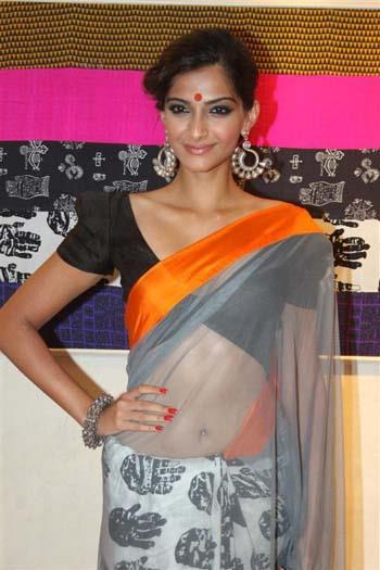 Sonam Kapoor in Grey Designer Sari at Masaba Gupta Store Launch