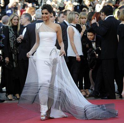 Sonam Kapoor in a White Jean Paul Gaultier Couture Gown at Cannes