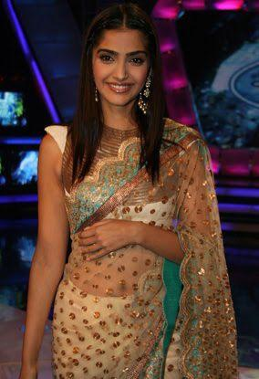 Sonam Wearing a Beautiful Anamika Khanna Saree at Indian Idol 5