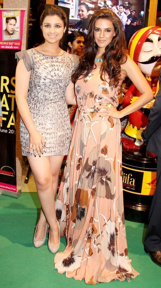 Parineeti Chopra and Neha Dhupia Pose at IIFA Rocks 2012