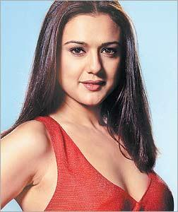 Preity Zinta Sexy Cleavages Exposing Still In Red Dress
