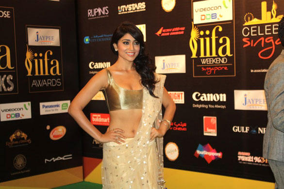 Sexy Shriya Saran Poses On Green Carpet At IIFA Rocks 2012 Fashion Show Event