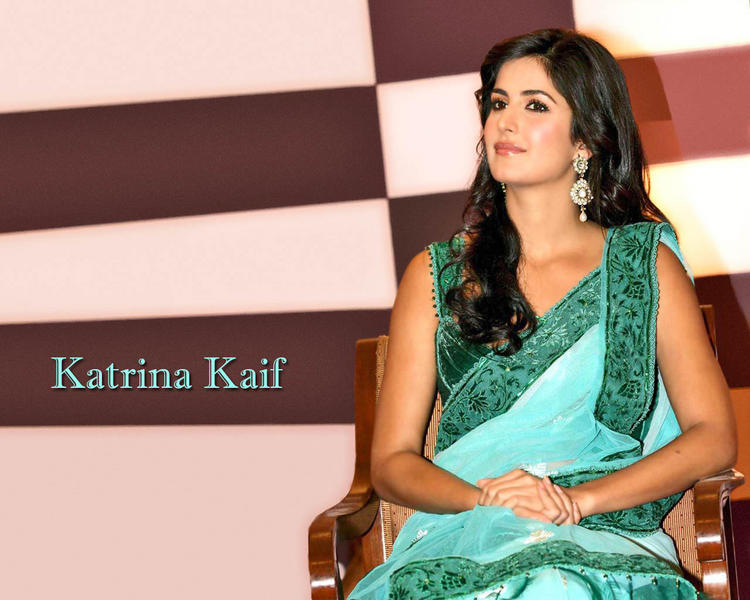 Katrina Kaif Shiny Face Still in Green Saree