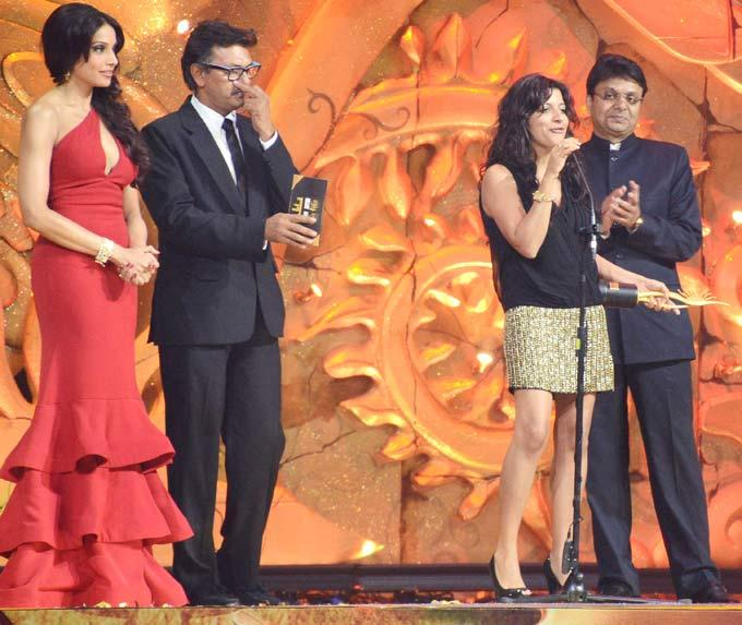 Bipasha Basu Looks on as Zoya Akhtar Gives a Speech After Receiving Her Award