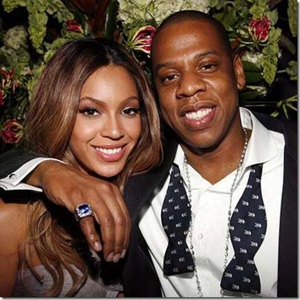 Beyonce Knowles Poses With Jay Z