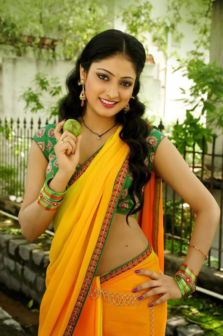 Hari Priya Gorgeous Look In Yellow Saree From Movie Abbai Class Ammai Mass
