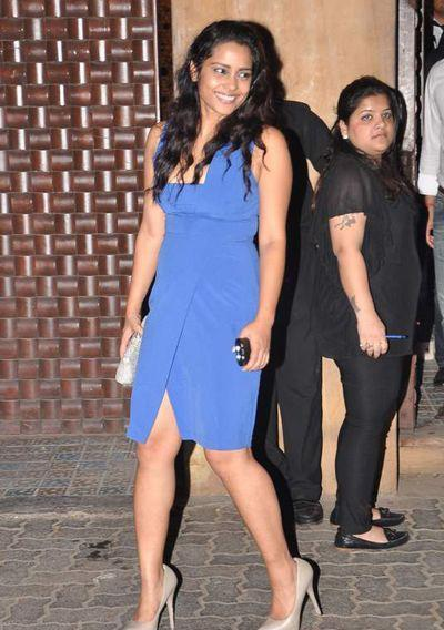 Sahana Goswami Looked Gorgeous In A Blue Dress At Anu Dewans Christmas Bash