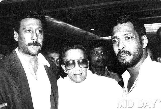 Jackie,Bal Thackeray And Nana At The Launch Of The Film Agnisakshi