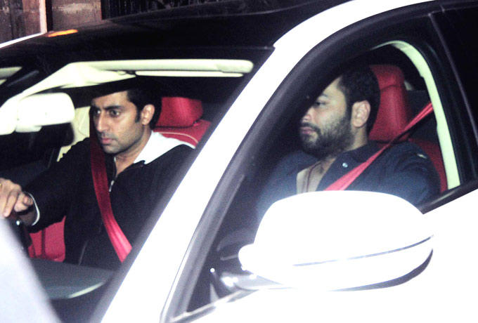 Abhishek Bachchan Driving The Car Still At Ritu Nanda New Year Bash