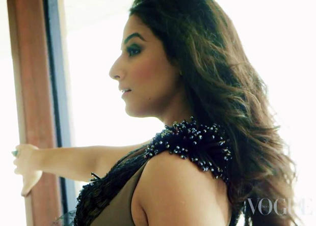Vidya Balan Side Face Look Nice Photo Shoot For Vogue India January 2013