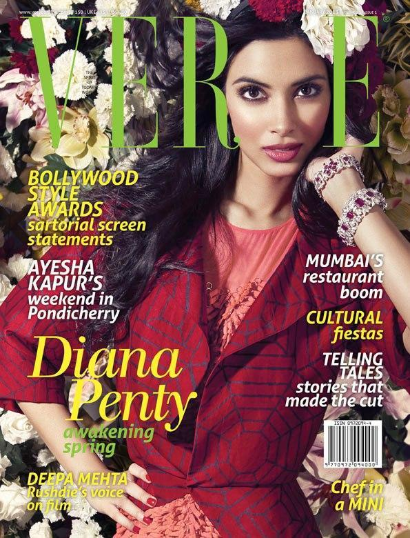 Diana Penty Surrounded By Flowers On The Cover Of Verve Jan 2013 Issue