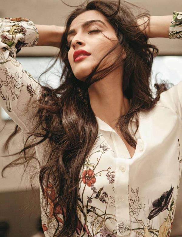 Sonam Kapoor Close Eyes Nice Look Photo Shoot For Marie Claire India Jan 2013