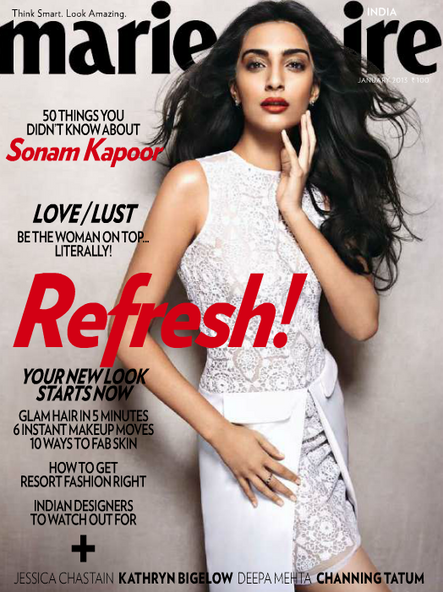 Sonam Kapoor On The Cover Of Marie Claire India Jan 2013 Issue