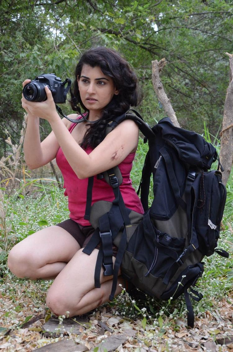 Archana Photo Clicked With Camera At Panchami Telugu Movie Press Meet