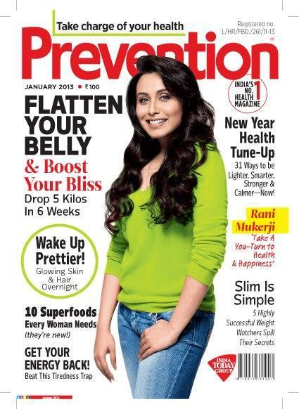Rani Graces The Cover Of Prevention India First Issue For 2013