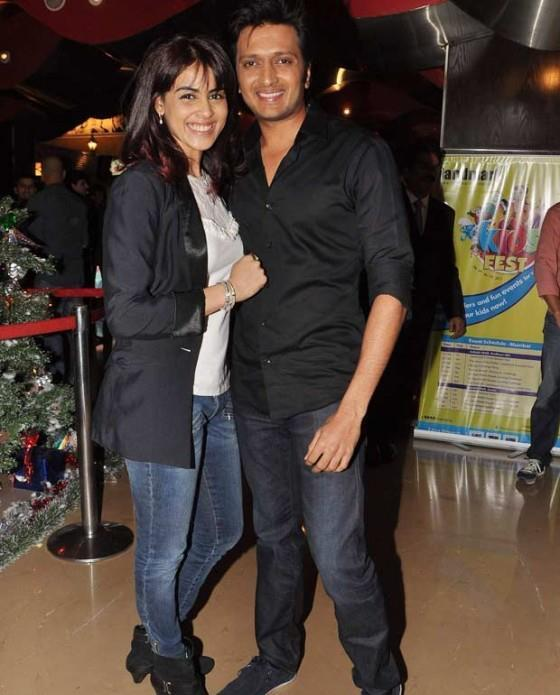 Genelia With Hubby Riteish Cosy Smiling Pose For Camera