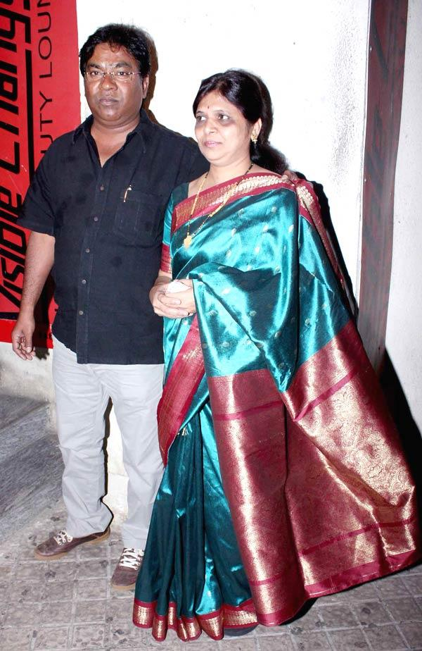 Kishore Kadam With Wife Photo Clicked At The Screening Of Balak Palak