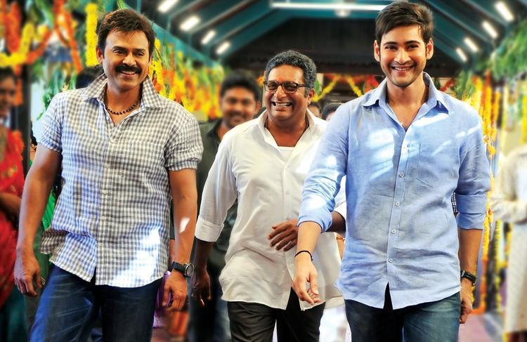 Mahesh,Venkatesh And Prakash Smiling Pose Still From SVSC Movie