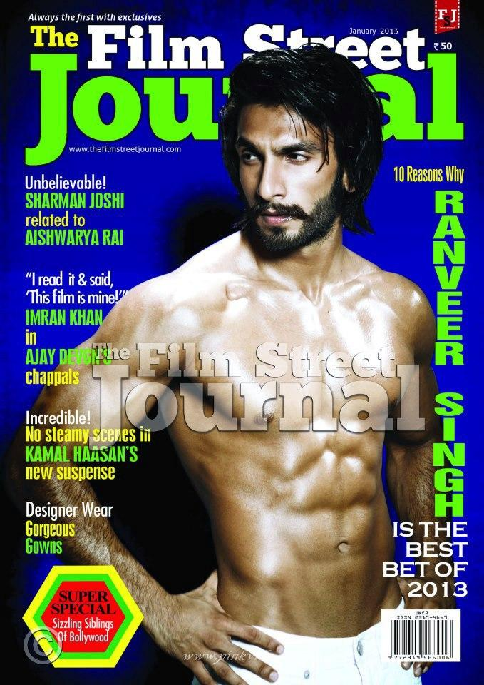 Ranveer Shirtless Body Show Hot Look On The Cover Of Film Street Journal January 2013