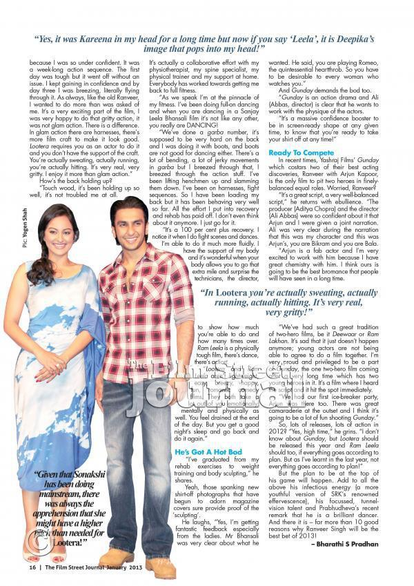 Ranveer Singh For Film Street Journal January 2013