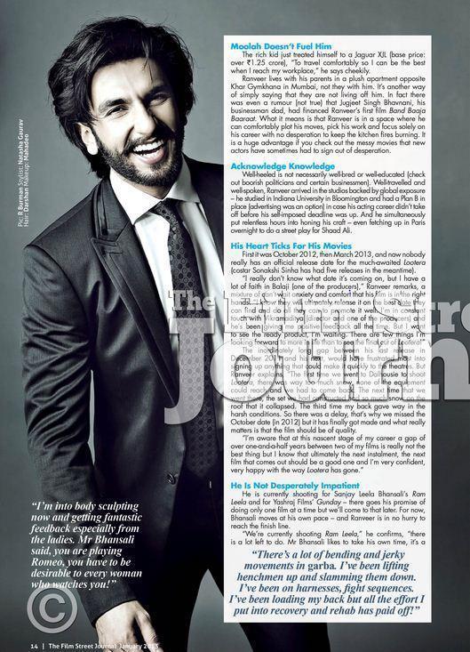 Ranveer Singh Smiling Look Photo Shoot For Film Street Journal January 2013