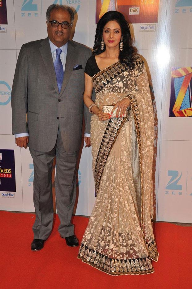 Boney And Sridevi Spotted On Red Carpet At Zee Cine Awards 2013