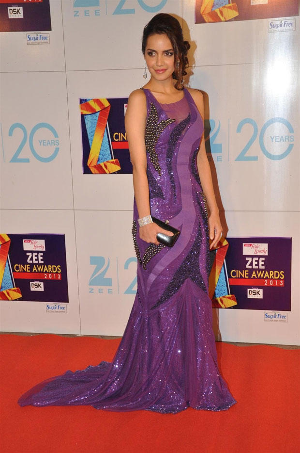 Shazahn Padamsee Perfect Purplicious In Jatin Verma At Zee Cine Awards 2013