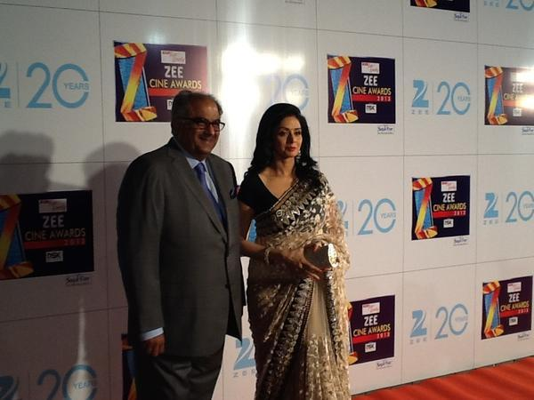 Sridevi With Hubby Boney Snapped On Red Carpet At Zee Cine Awards 2013