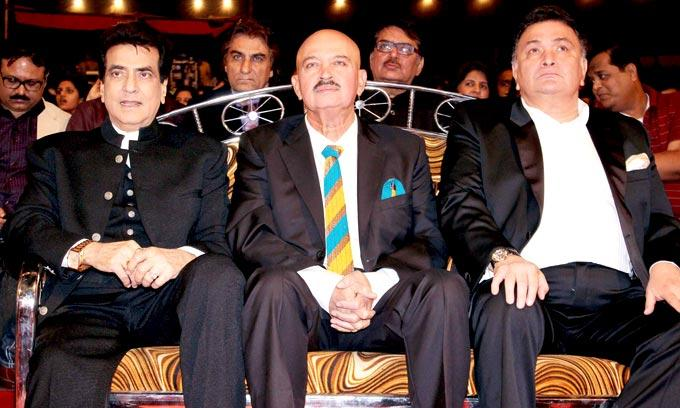 Jitendra,Rakesh And Rishi Photo Clicked On Audience Chair At Umang Police Show 2013 Held In Mumba