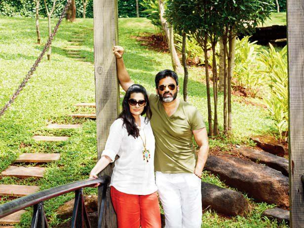 Suniel Shetty And Mana Shetty In Their Bungalow At Khandala