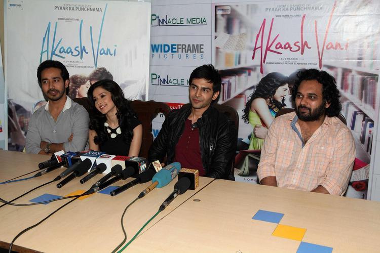 Abhishek,Nushrat,Kartik  And Luv Press Meet Photo At The Akaash Vani Film Music Promotion