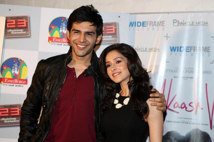 Kartik Tiwari And Nushrat Cosy Smiling Photo Clicked At The Akaash Vani Film Music Promotion