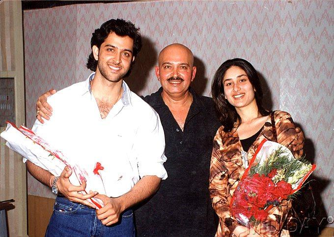 Hrithik With Dad Rakesh And Kareena Nice Still