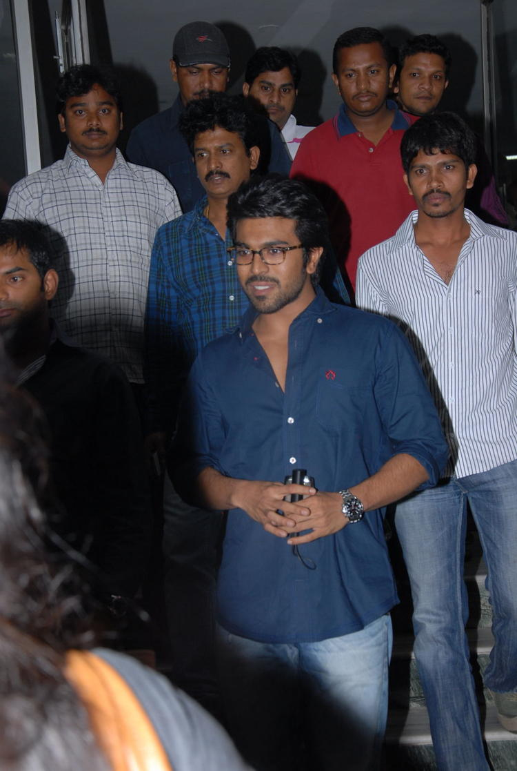 Ram Charan Simple Photo In Blue Jeans And Shirt At Nayak Movie Premier Show